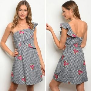 💝 Floral - Black & With Dress Off Shoulder Dress